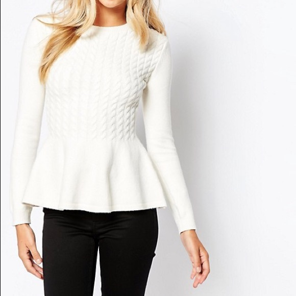 06305d014e2696 Ted Baker Mereda Cable Knit Peplum Sweater. M_5b623012dcfb5a14fabb27c0